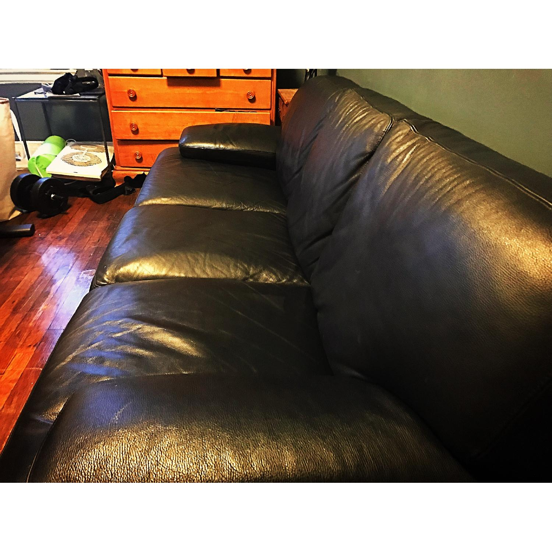 Bloomingdale's Italian Black Leather 3-Cushion Sofa-1