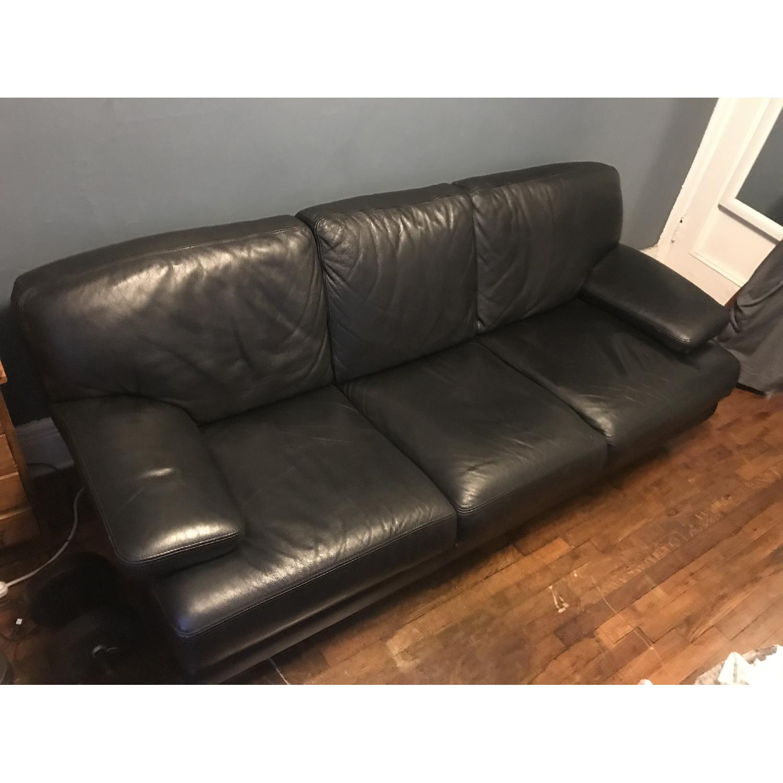 Bloomingdale's Italian Black Leather 3-Cushion Sofa-2