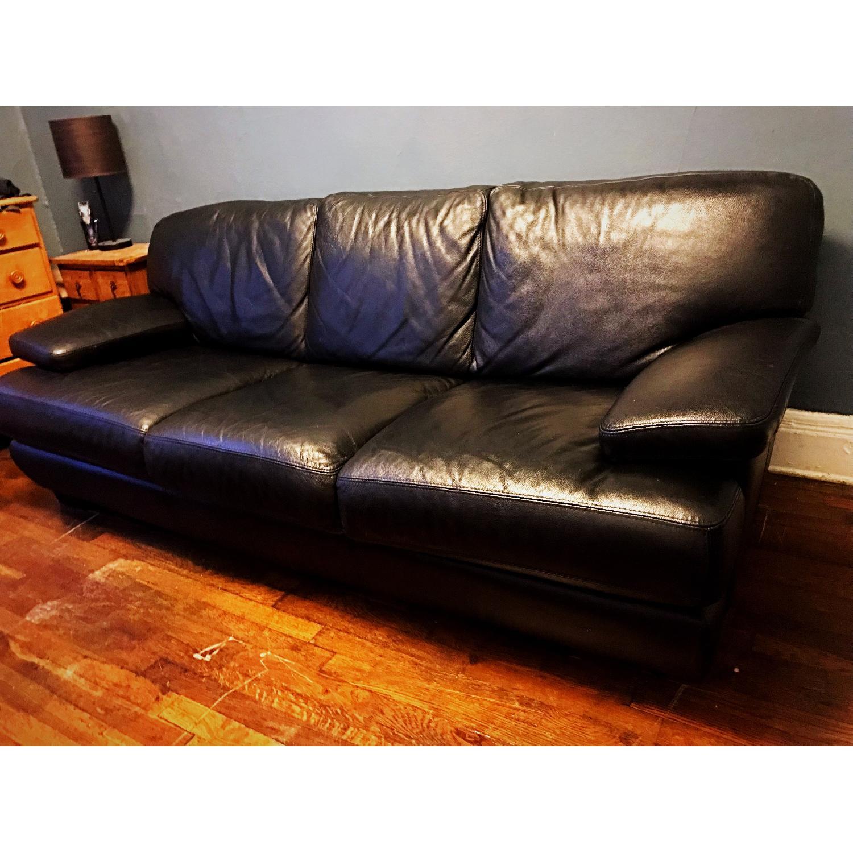 Bloomingdale's Italian Black Leather 3-Cushion Sofa-3