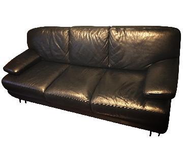 Bloomingdale's Italian Black Leather 3-Cushion Sofa