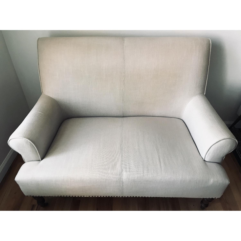 Abbyson Living Grey Linen Loveseat/Settee-1
