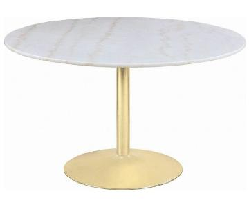 Mid-Century Dining Table w/ White Marble Top & Brass Base