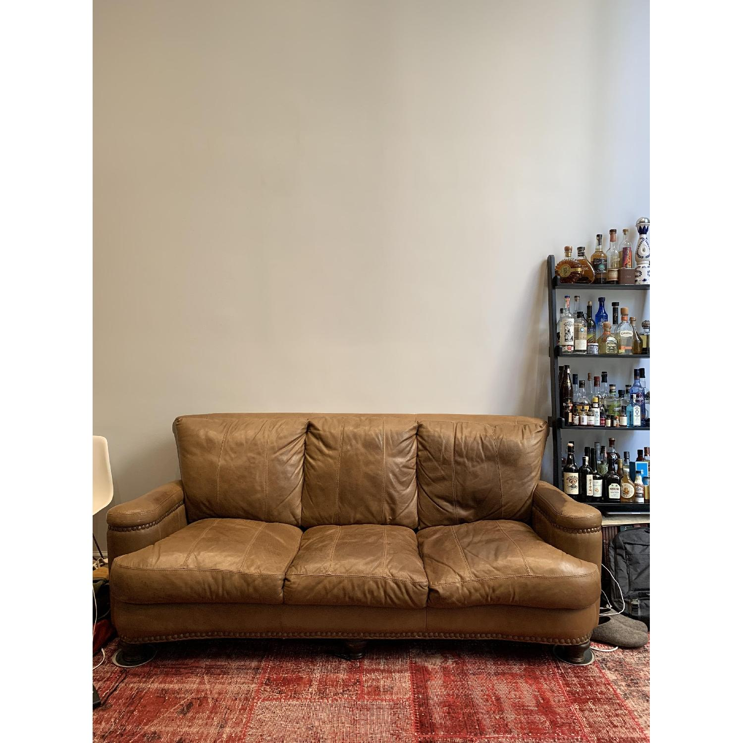 Tan Italian Leather Sofa-0
