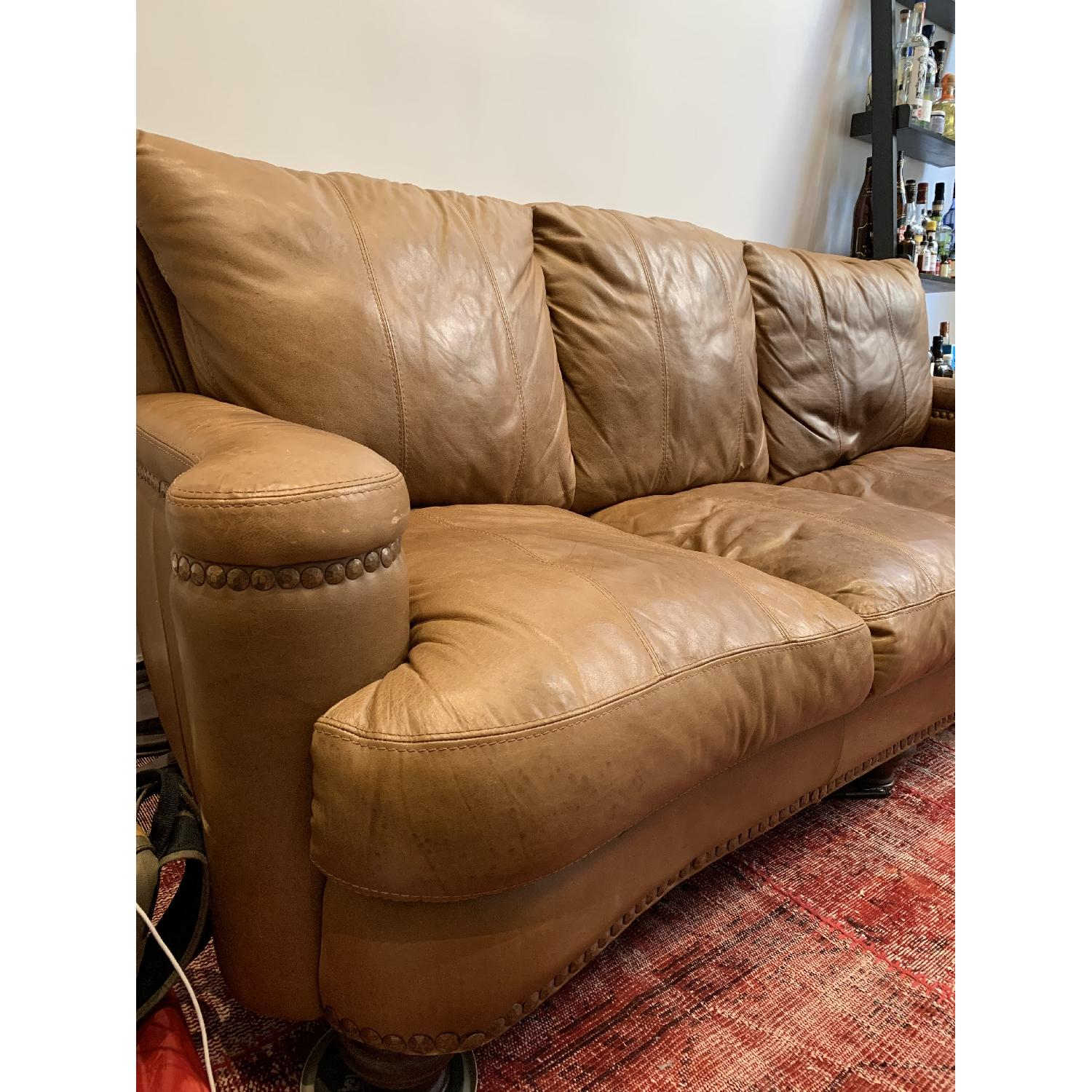 Tan Italian Leather Sofa-1