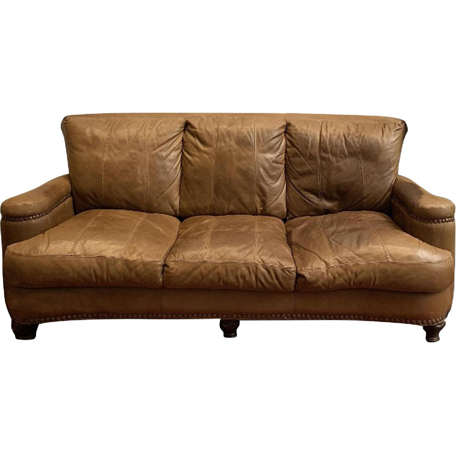 Tan Italian Leather Sofa