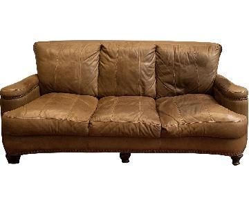 Tan Italian Leather Sofa