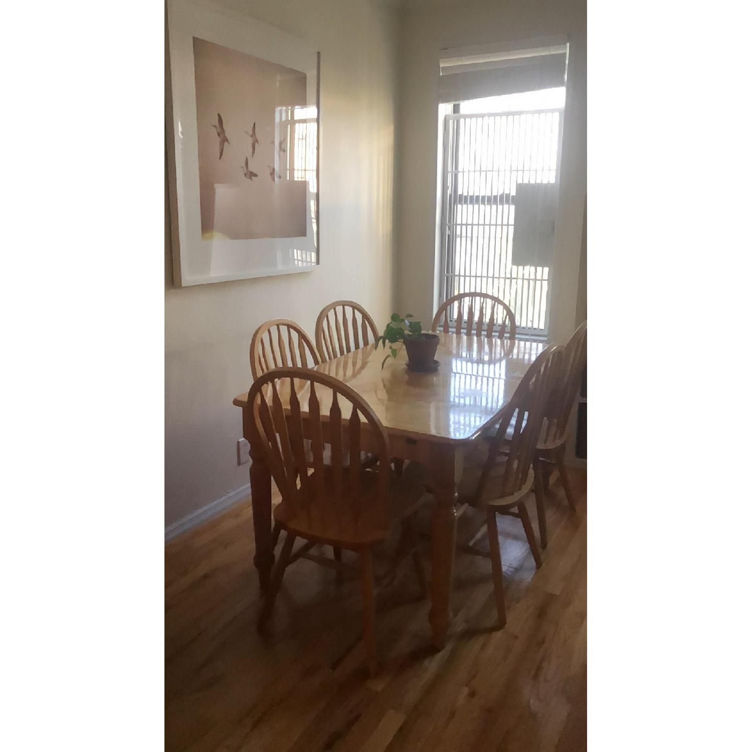 Farmhouse Style Extendable Dining Table w/ 6 Matching Chairs-0