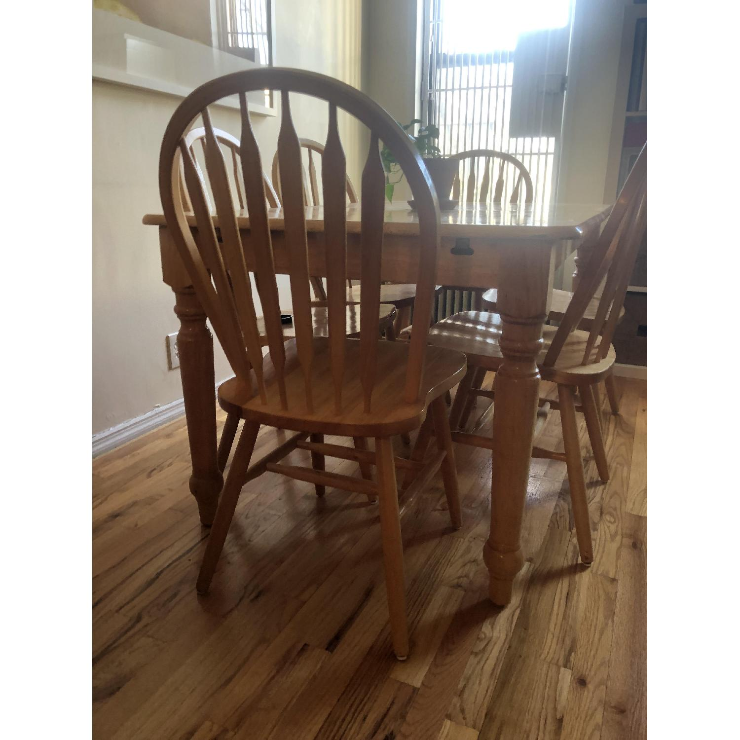 Farmhouse Style Extendable Dining Table w/ 6 Matching Chairs-3