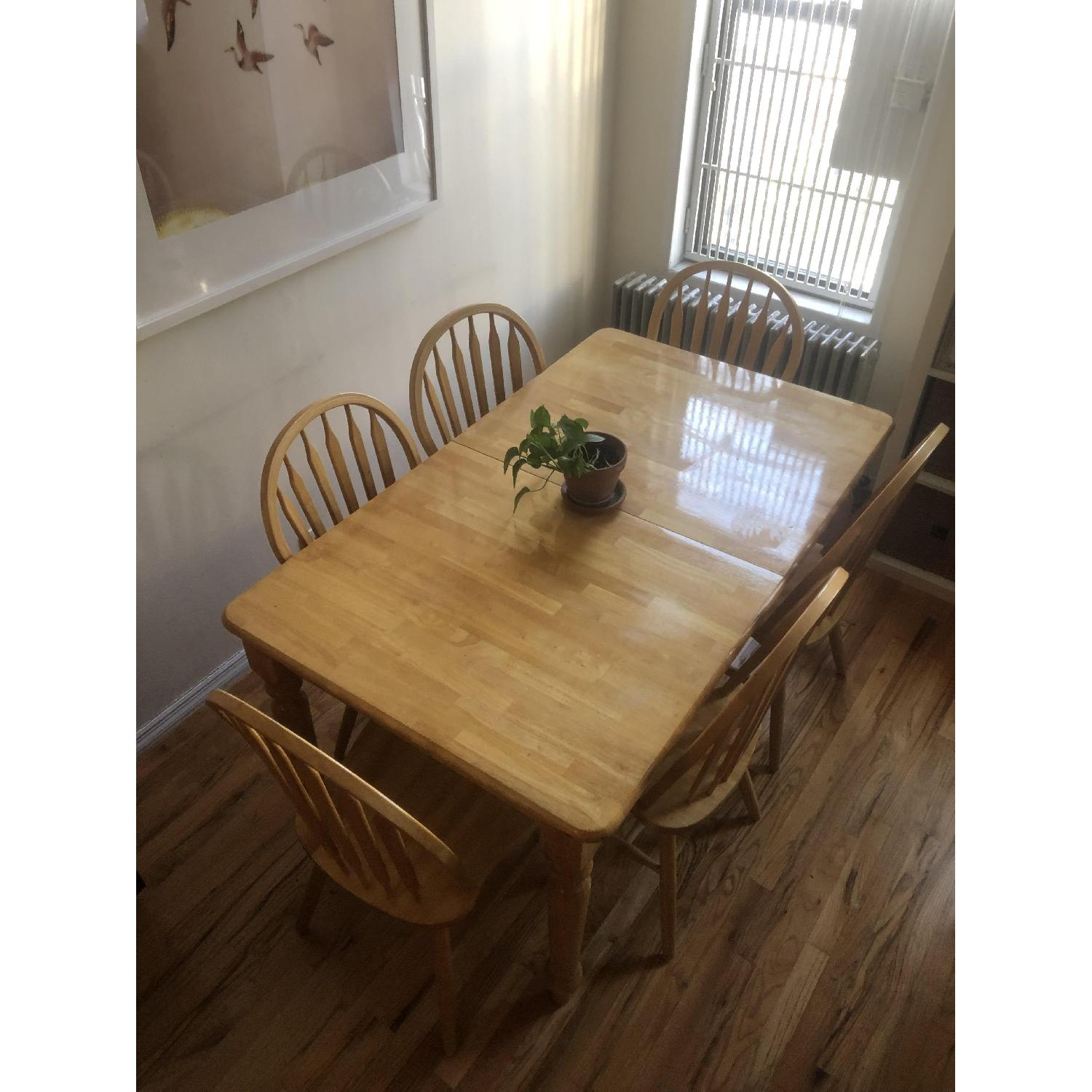 Farmhouse Style Extendable Dining Table w/ 6 Matching Chairs-5