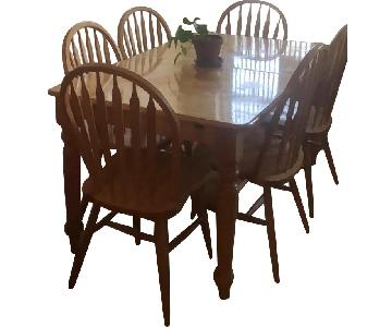 Farmhouse Style Extendable Dining Table w/ 6 Matching Chairs