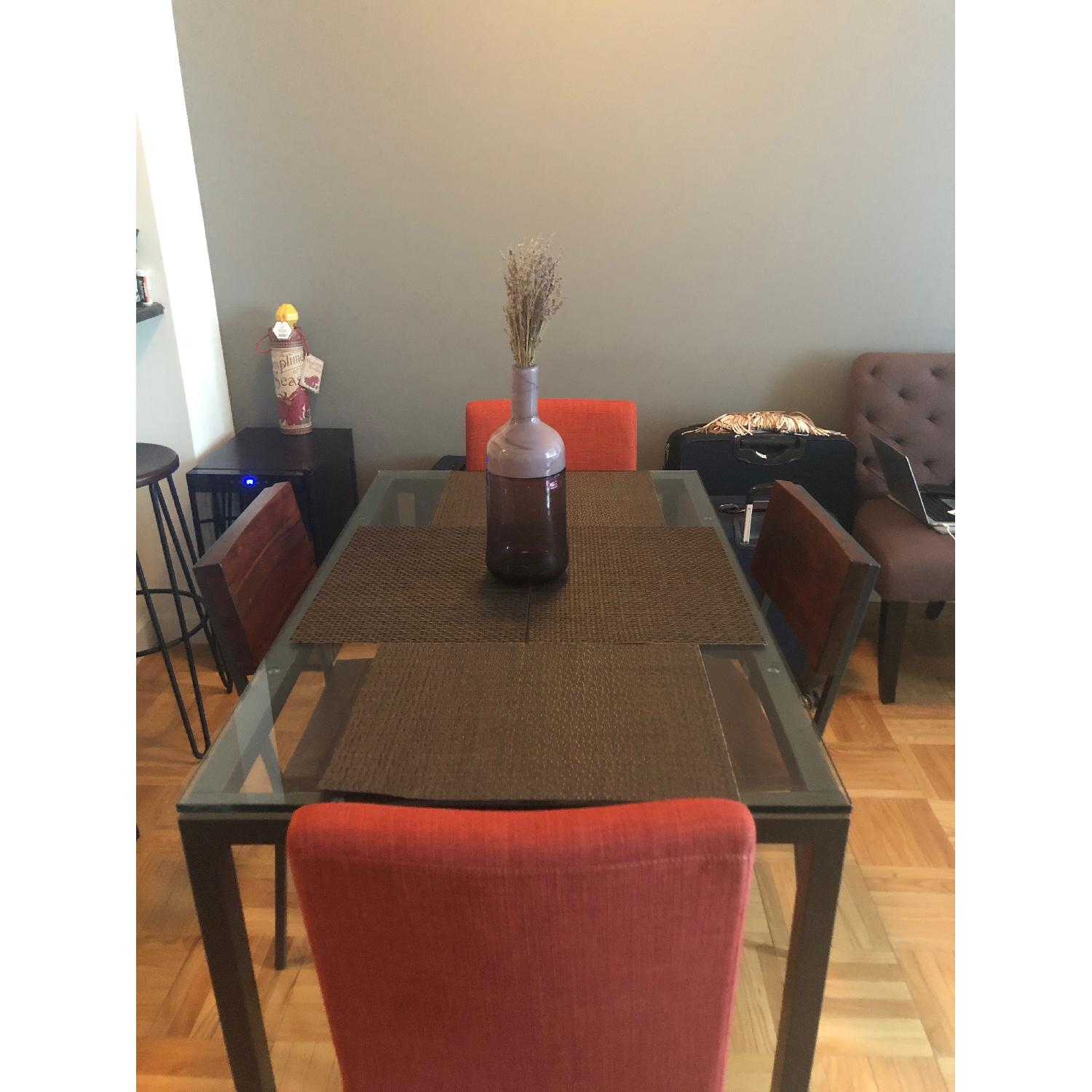 West Elm Glass Dining Table w/ 4 Chairs-0