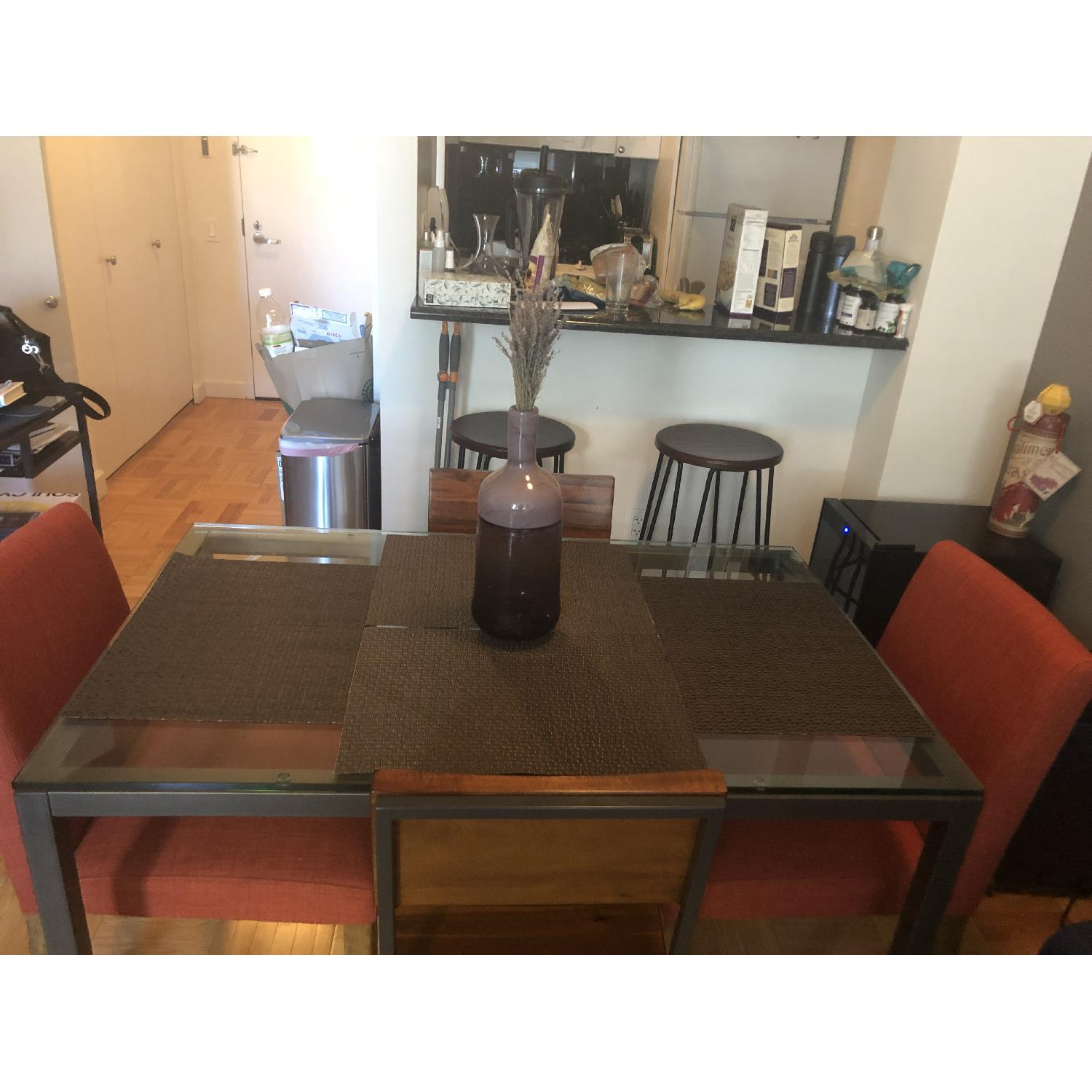 West Elm Glass Dining Table w/ 4 Chairs-1