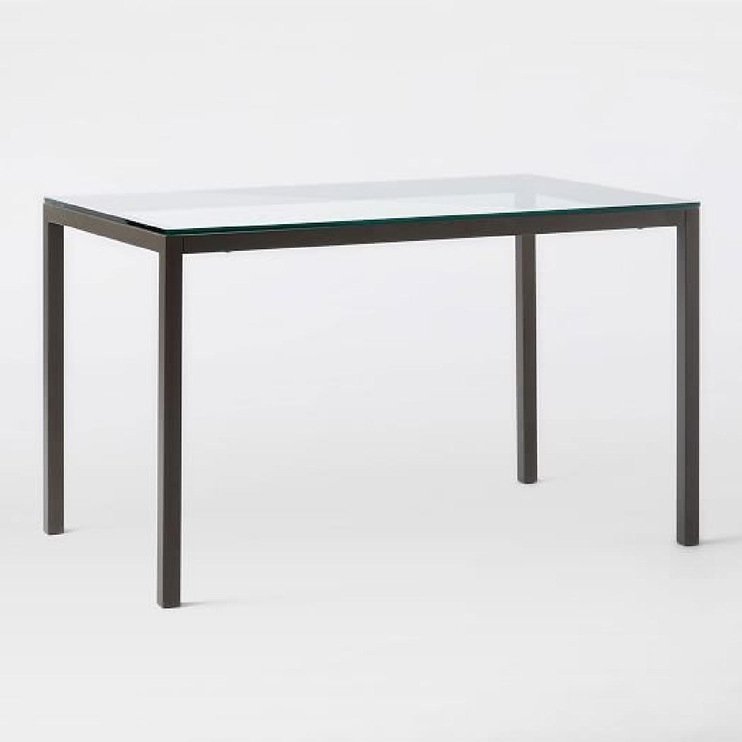 West Elm Glass Dining Table w/ 4 Chairs-4