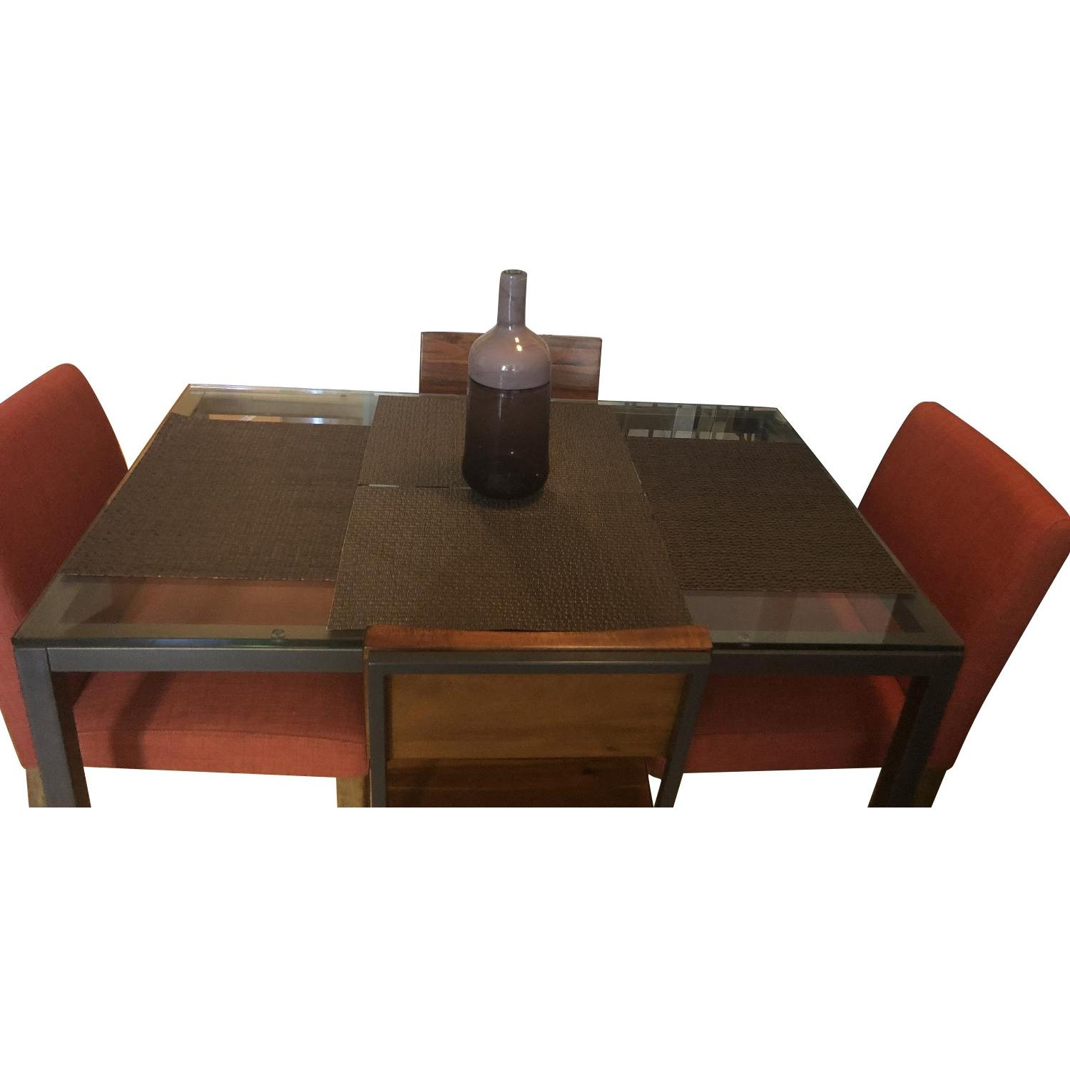 West Elm Glass Dining Table w/ 4 Chairs