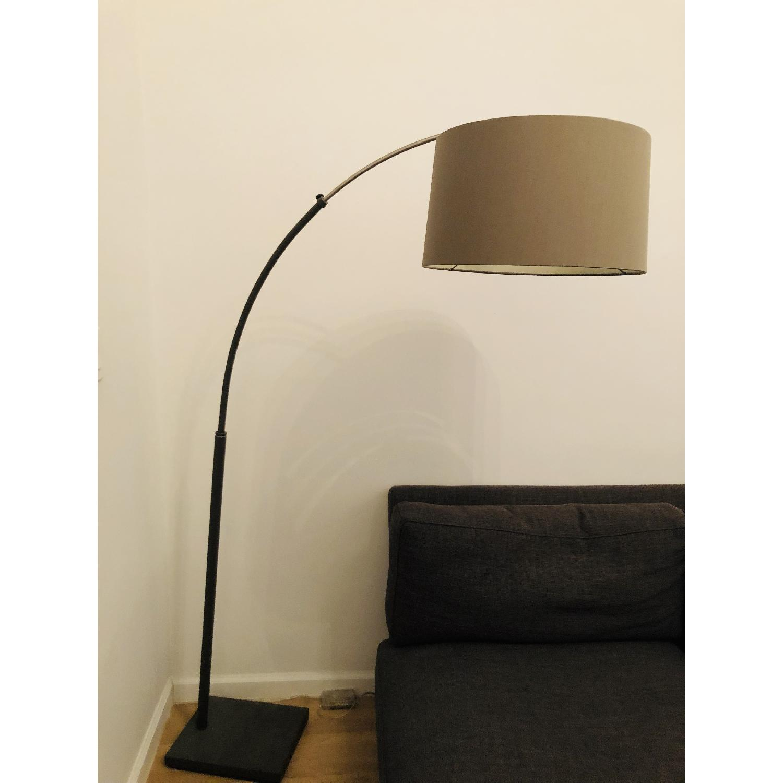 Crate & Barrel Dexter Arc Floor Lamp w/ Grey Shade-0