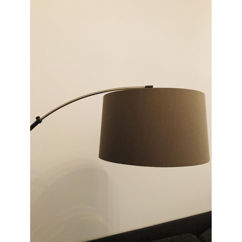 Crate & Barrel Dexter Arc Floor Lamp w/ Grey Shade-4