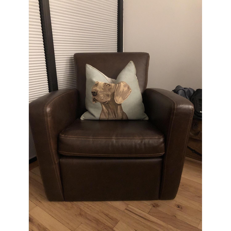 Dark Brown Leather Armchair-0