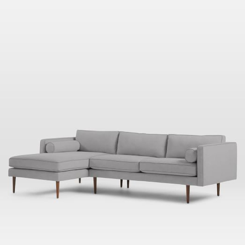 West Elm Monroe Mid-Century 2-Piece Chaise Sectional Sofa-3