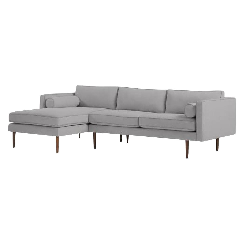 West Elm Monroe Mid-Century 2-Piece Chaise Sectional Sofa