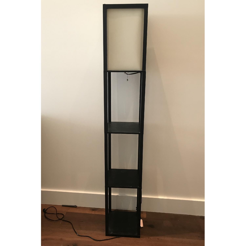 Black Floor Lamp w/ Shelves-0