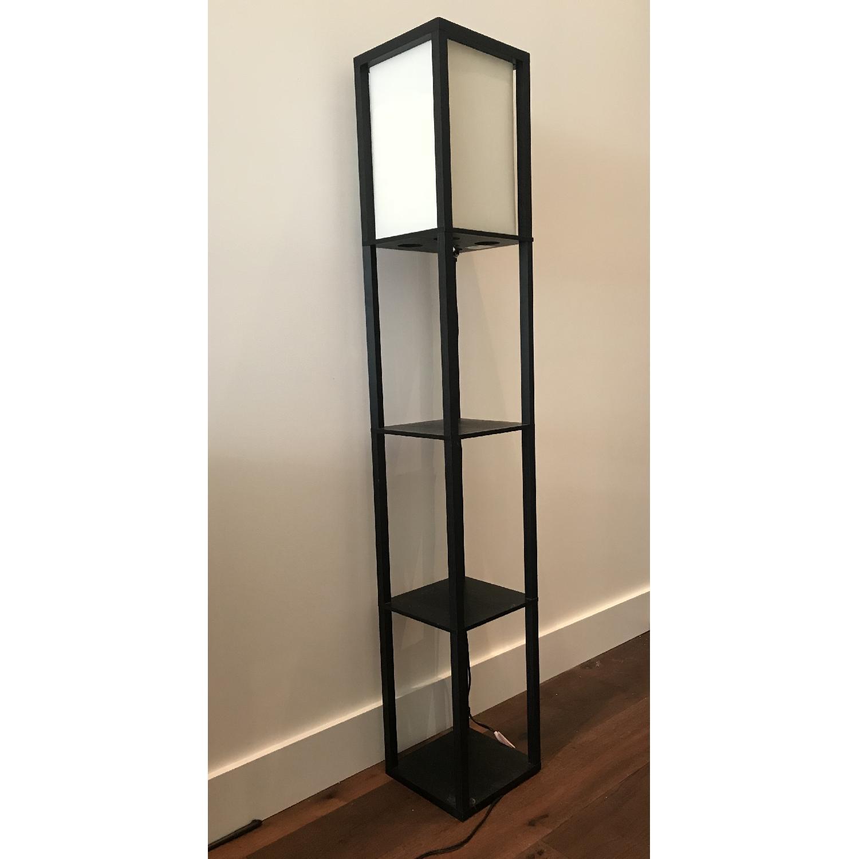 Black Floor Lamp w/ Shelves-2