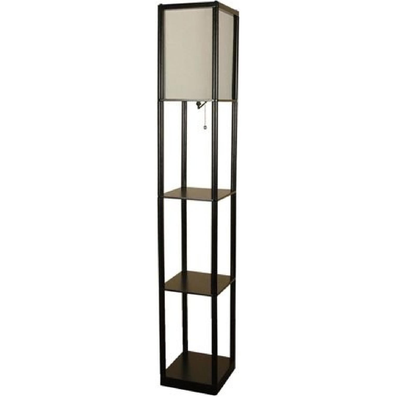 Black Floor Lamp w/ Shelves
