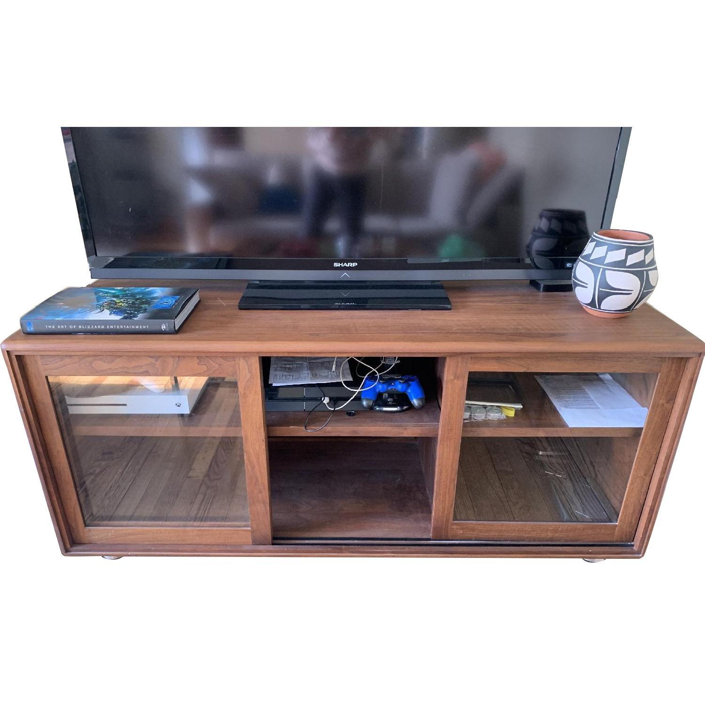 Crate & Barrel Pecan Wood Media Console