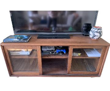Crate & Barrel Pecan Wood Media Console