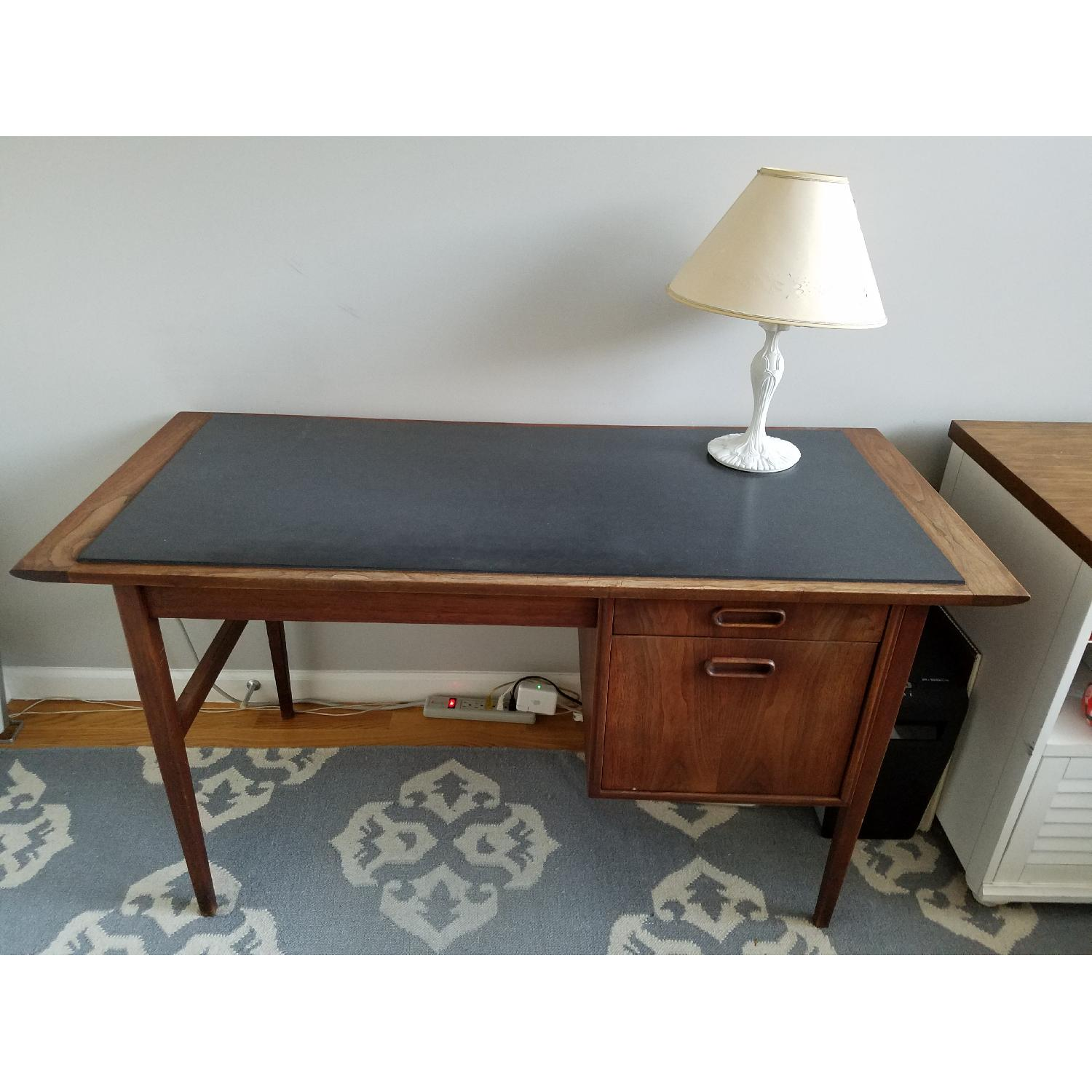 Mid Century Danish Style Brown Wood Desk w/ Dark Marble Top-0