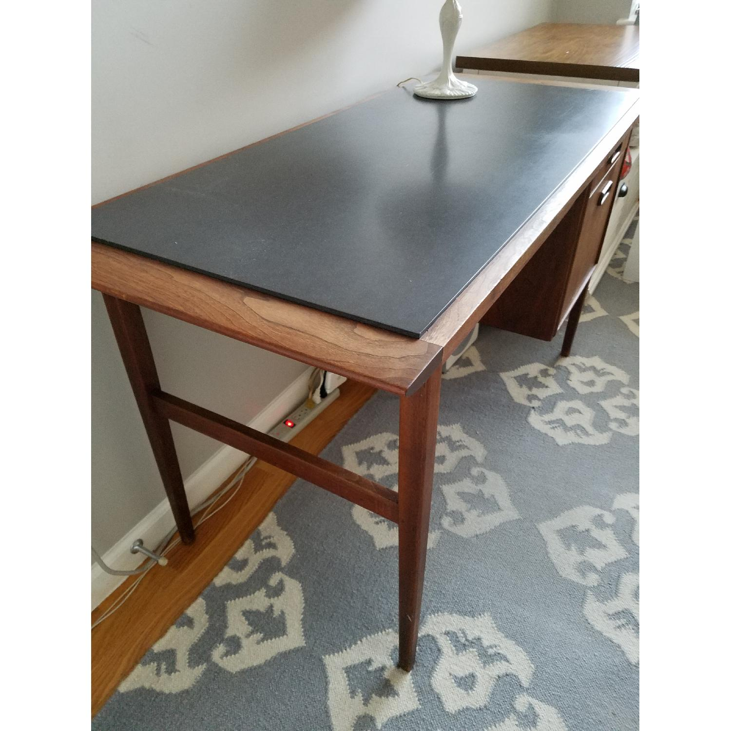 Mid Century Danish Style Brown Wood Desk w/ Dark Marble Top-2
