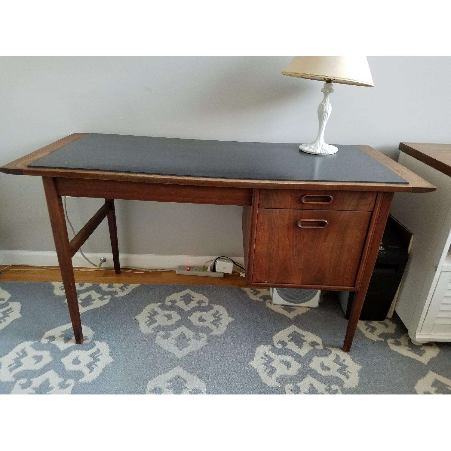 Mid Century Danish Style Brown Wood Desk w/ Dark Marble Top-3