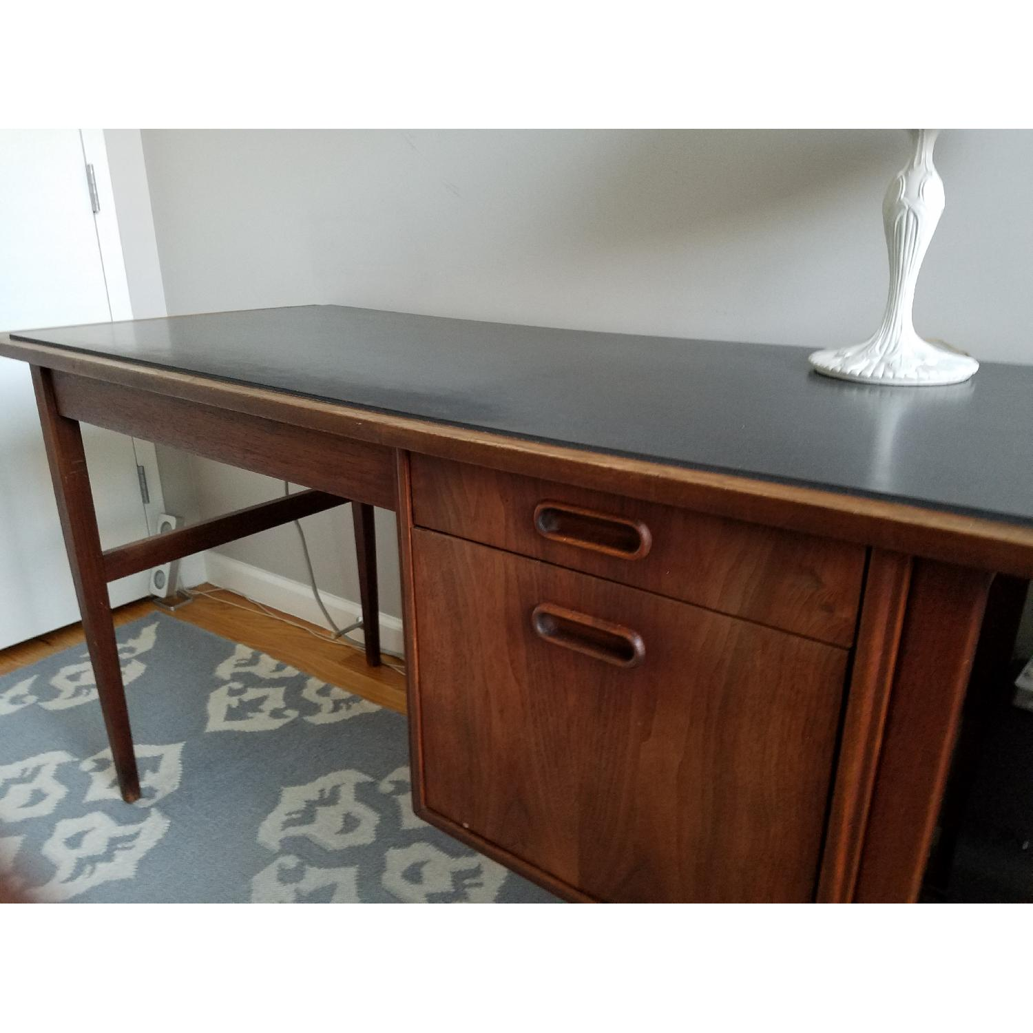 Mid Century Danish Style Brown Wood Desk w/ Dark Marble Top-4