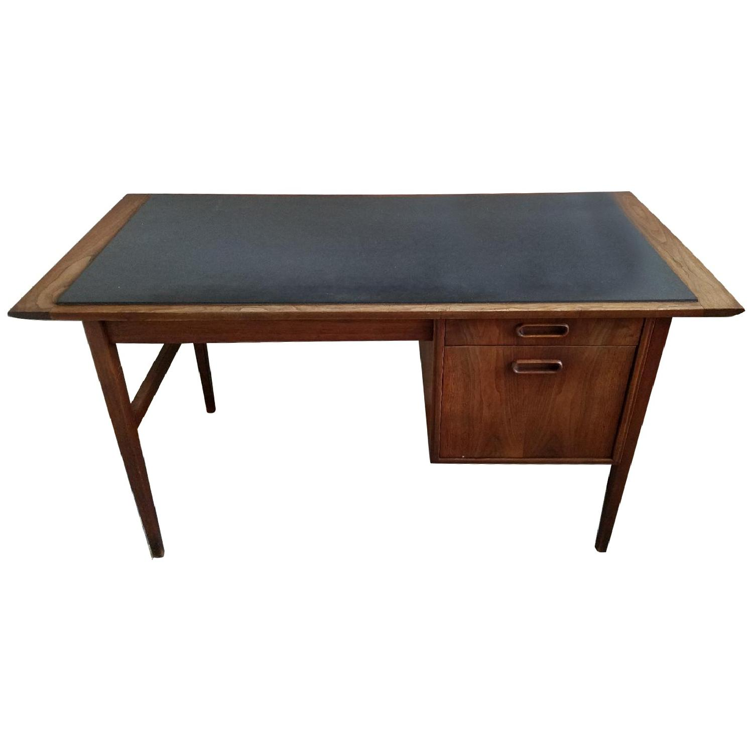 Mid Century Danish Style Brown Wood Desk w/ Dark Marble Top