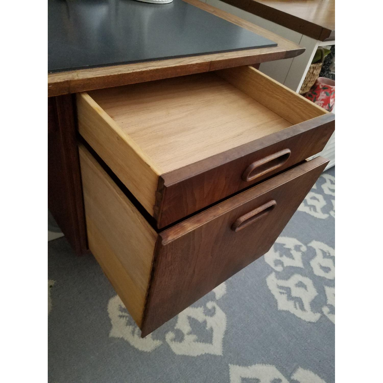 Mid Century Danish Style Brown Wood Desk w/ Dark Marble Top-7
