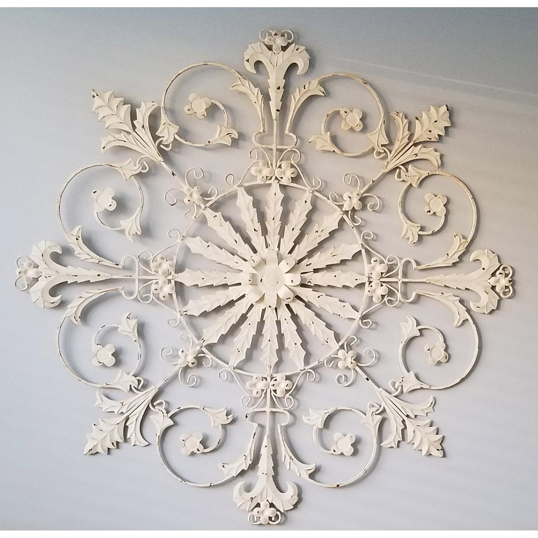 Ballard Designs White Washed Iron Rosette Shape Wall Decor