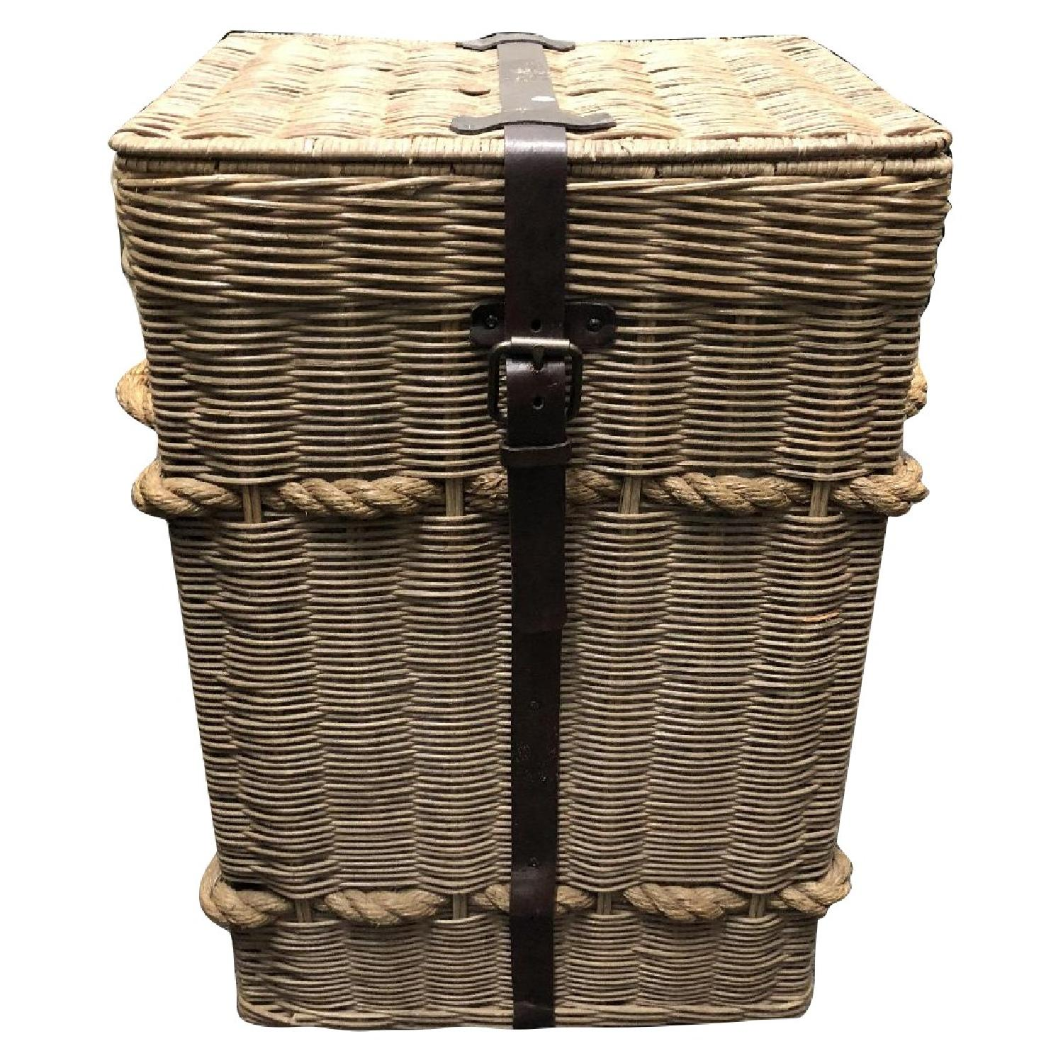 Pottery Barn Tall Basket w/ Leather Strap