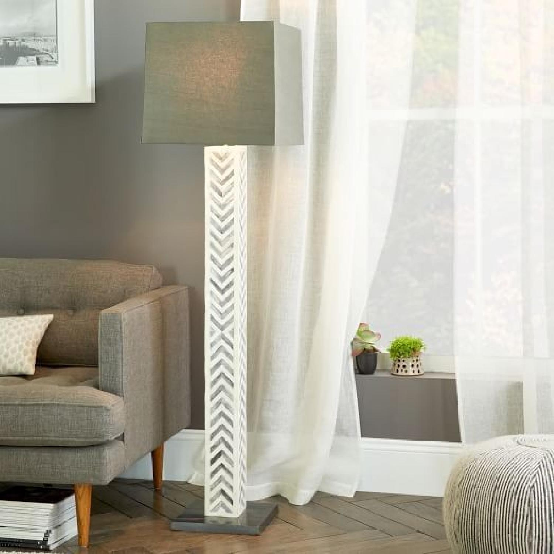 West Elm Chevron Gray Floor Lamp-2