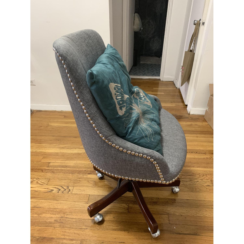 Gray Nailhead Rolling Chair-0