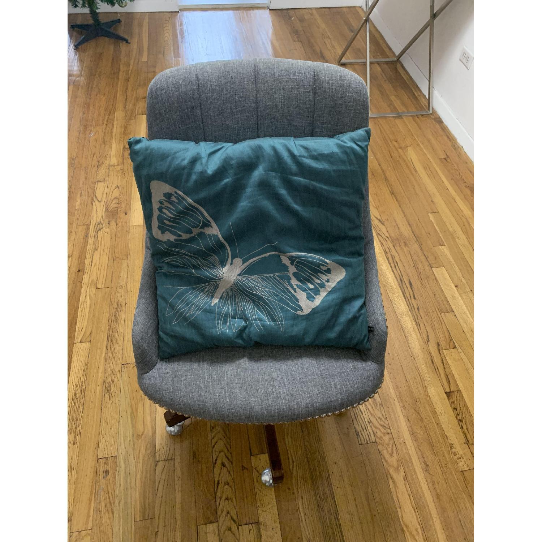 Gray Nailhead Rolling Chair-2