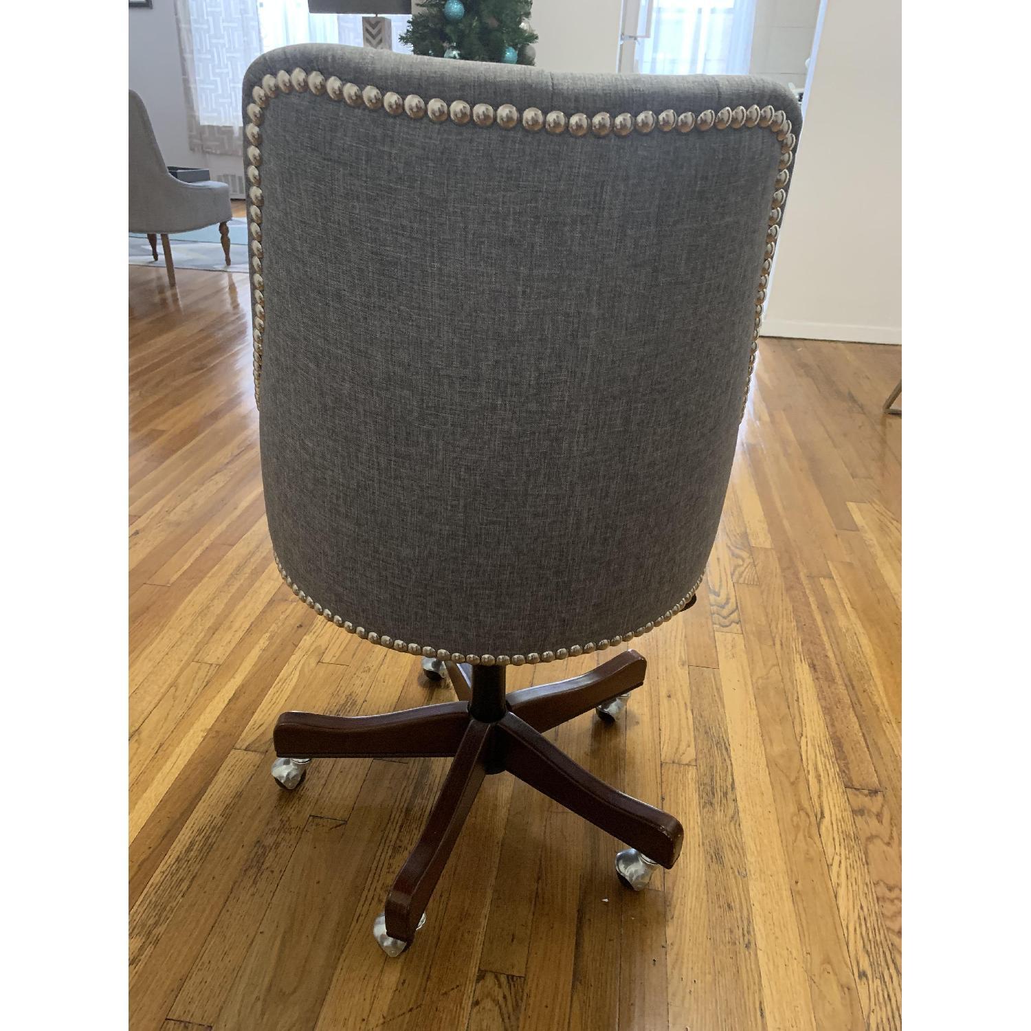 Gray Nailhead Rolling Chair-3