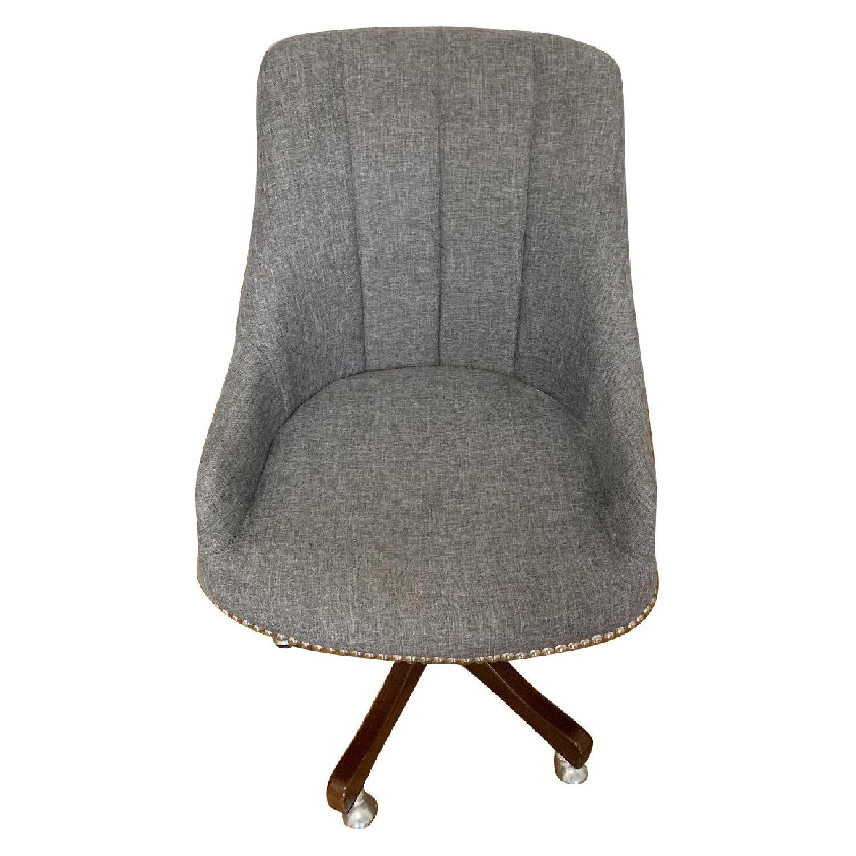 Gray Nailhead Rolling Chair
