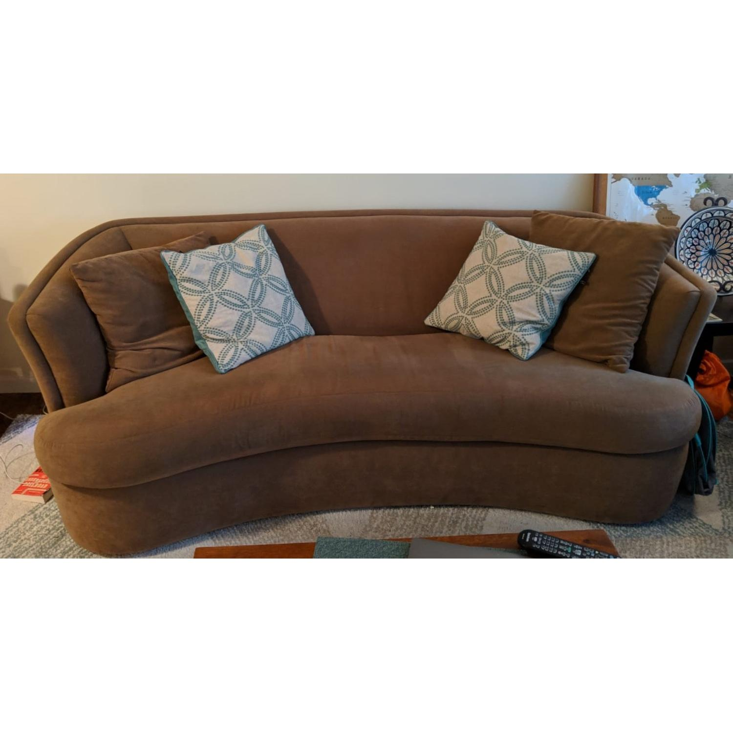 Tan Suede Curved Sofa-0