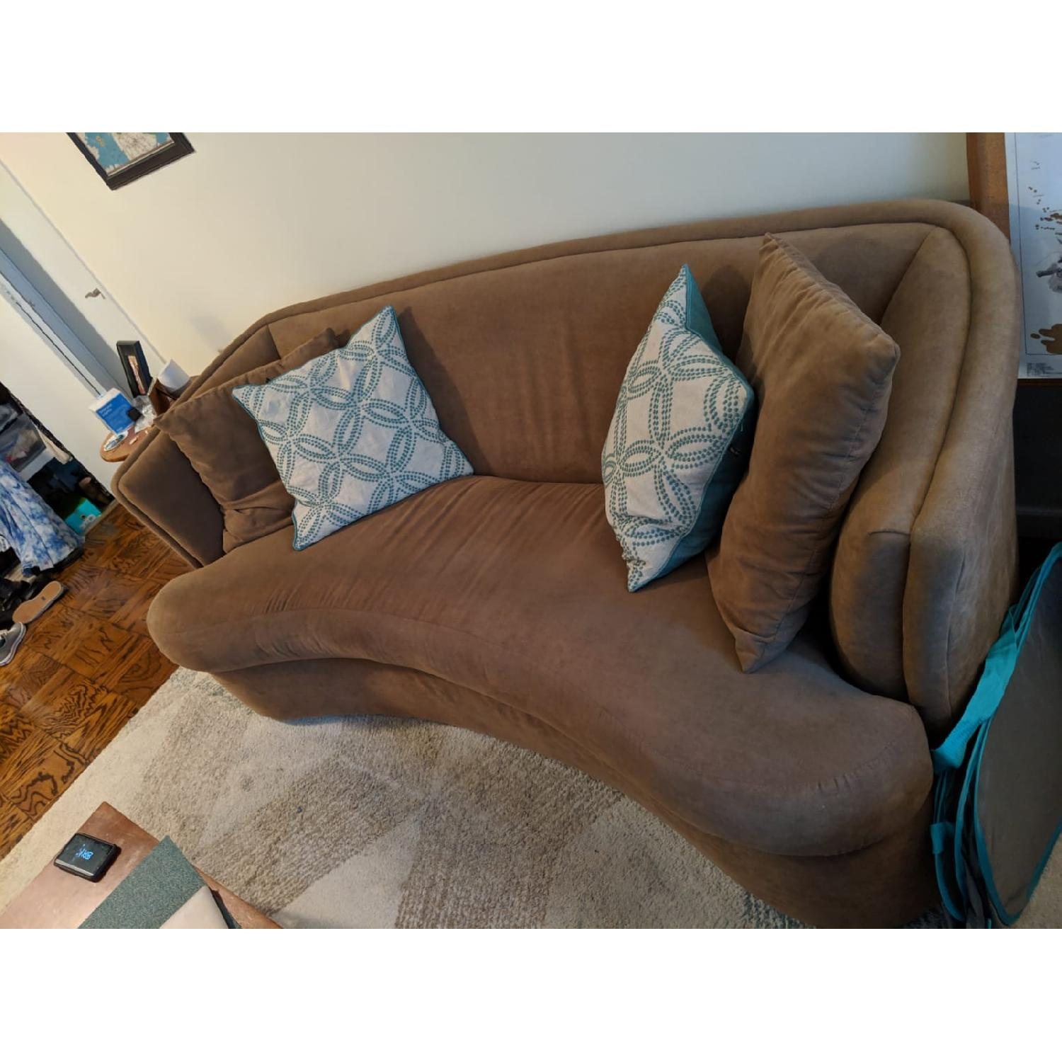 Tan Suede Curved Sofa-2