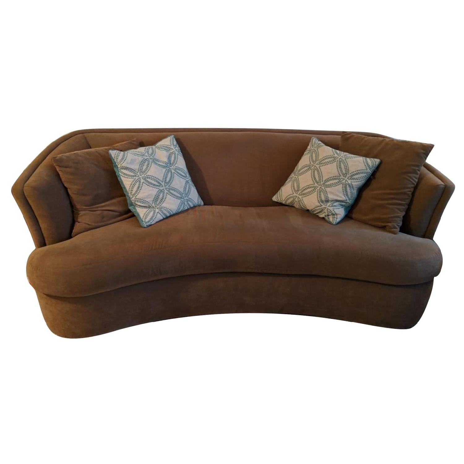 Tan Suede Curved Sofa