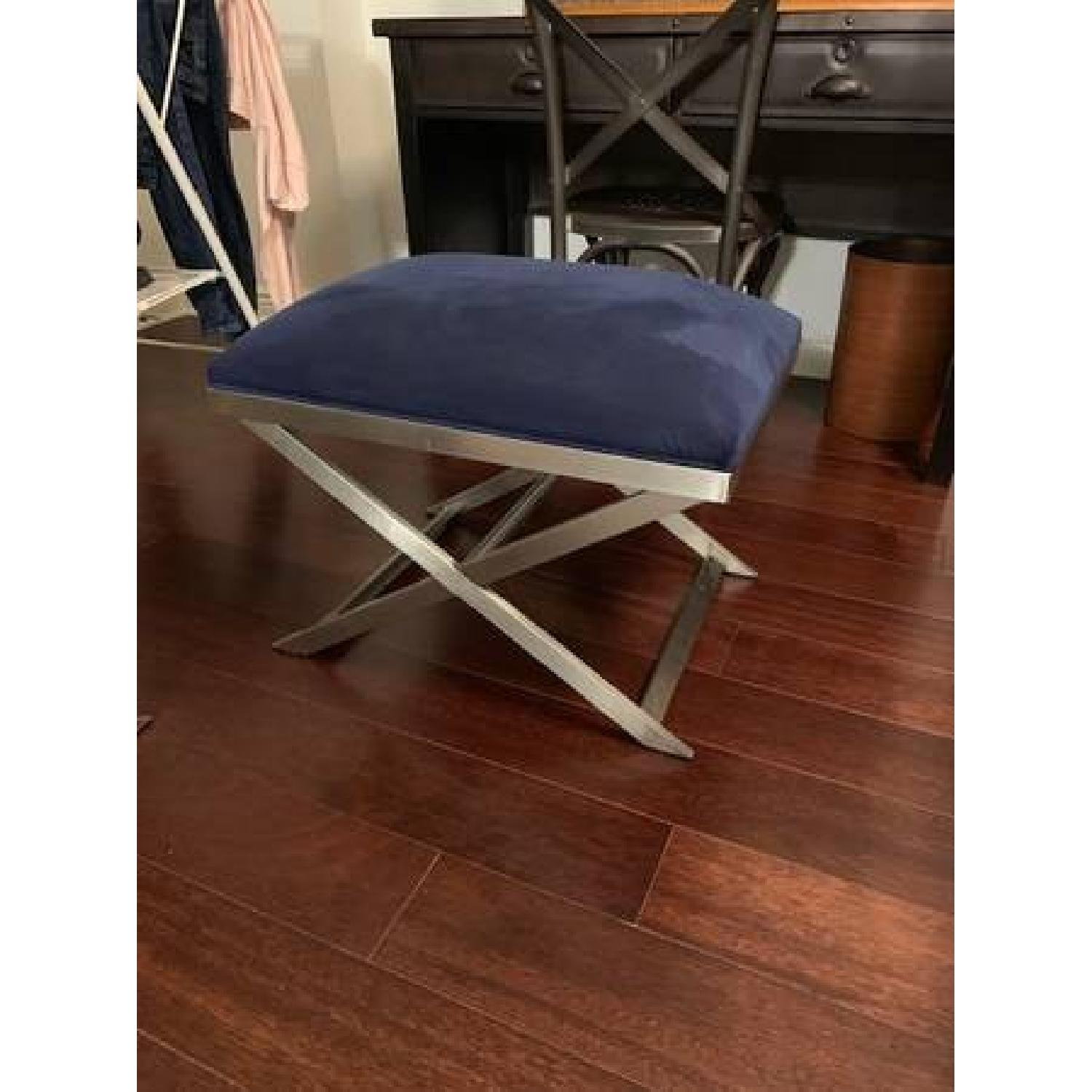 Ethan Allen Xanadu Benches in Blue Fabric on Polished Nickel-0