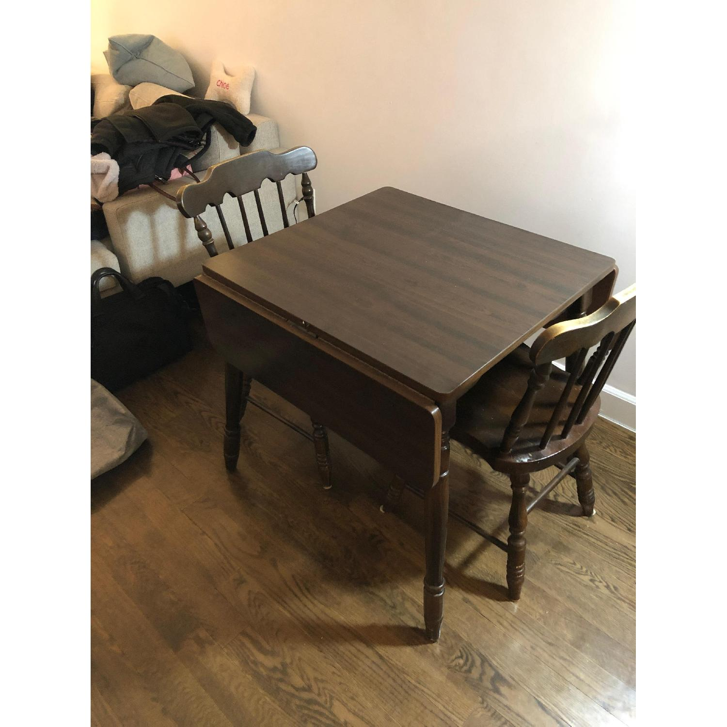 Wood Drop-Leaf Dining Table w/ 2 Chairs-0