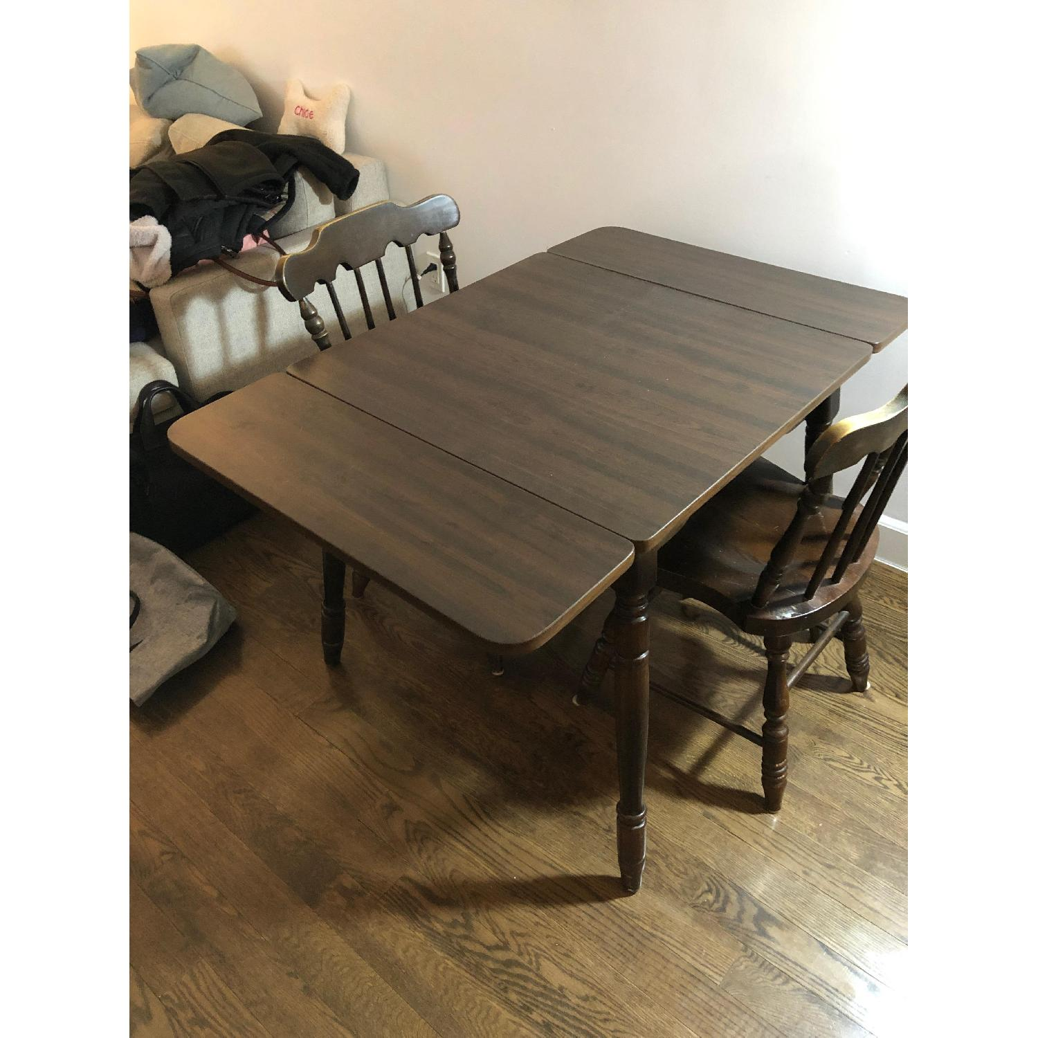 Wood Drop-Leaf Dining Table w/ 2 Chairs-1