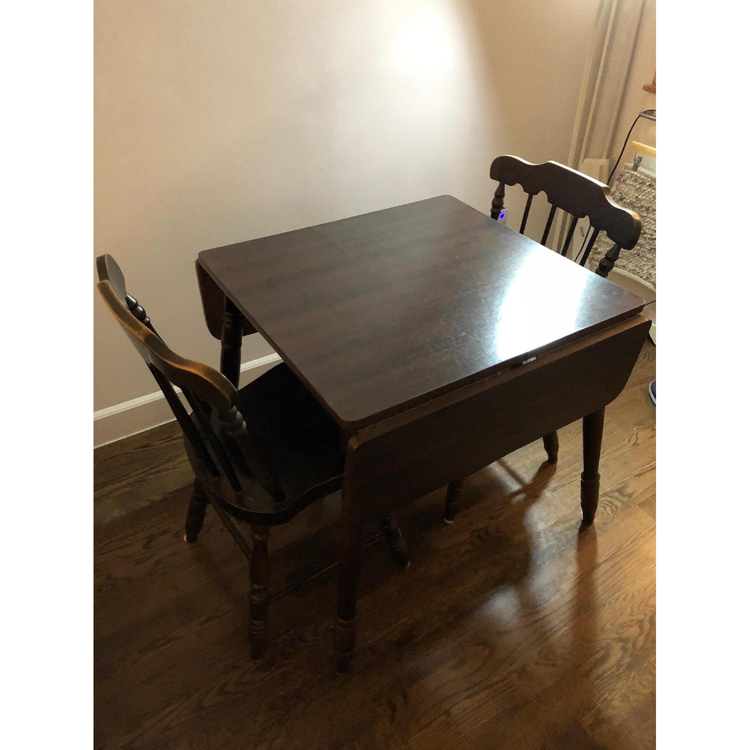 Wood Drop-Leaf Dining Table w/ 2 Chairs-2