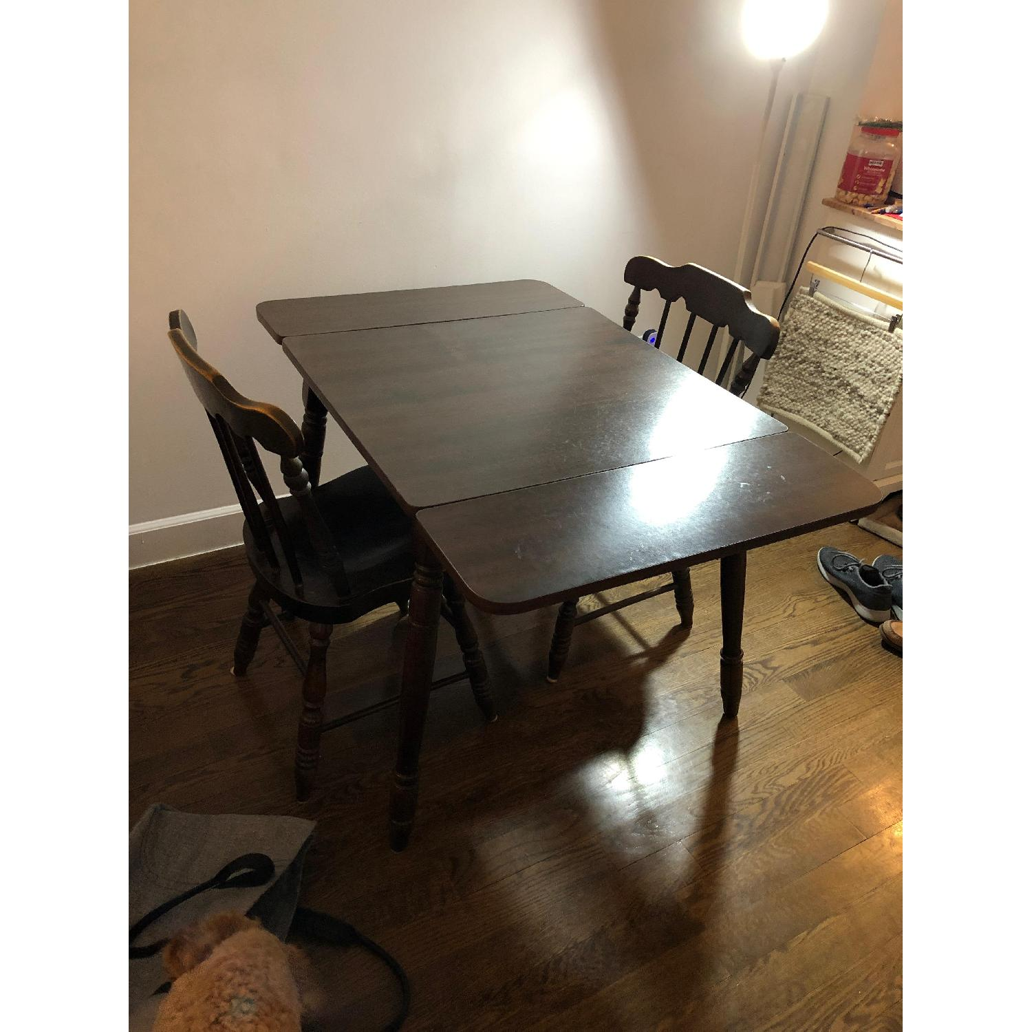 Wood Drop-Leaf Dining Table w/ 2 Chairs-3