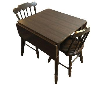 Wood Drop-Leaf Dining Table w/ 2 Chairs